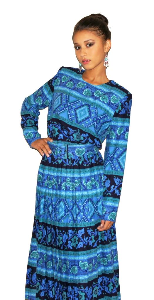 Vintage Blue Paisley Dress / Model: Jhonaii Debow