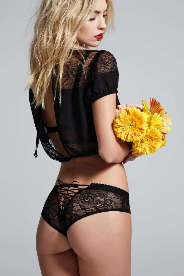 Love, Courtney by Nasty Gal Burn Black Lace Panty | $48.00